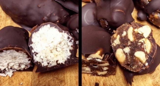 Gör egna snickers och bounty – nyttigare