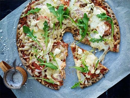 Recept. Knäckepizza med kalkon