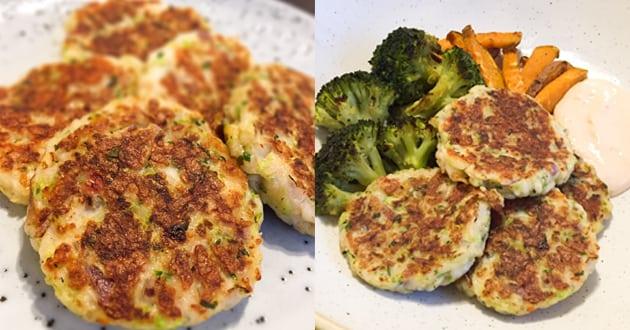 Halloumi- och zucchinibiffar med myntayoghurt