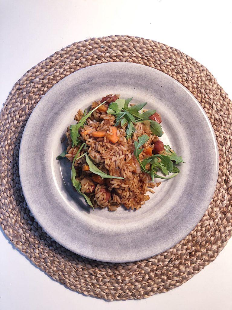 fried rice med korv