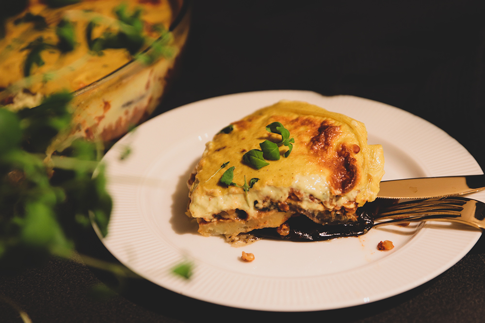 moussaka med potatis och aubergine