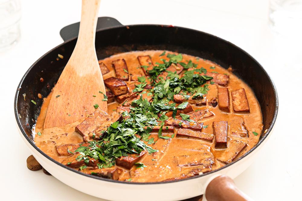 Vegansk tofu stroganoff