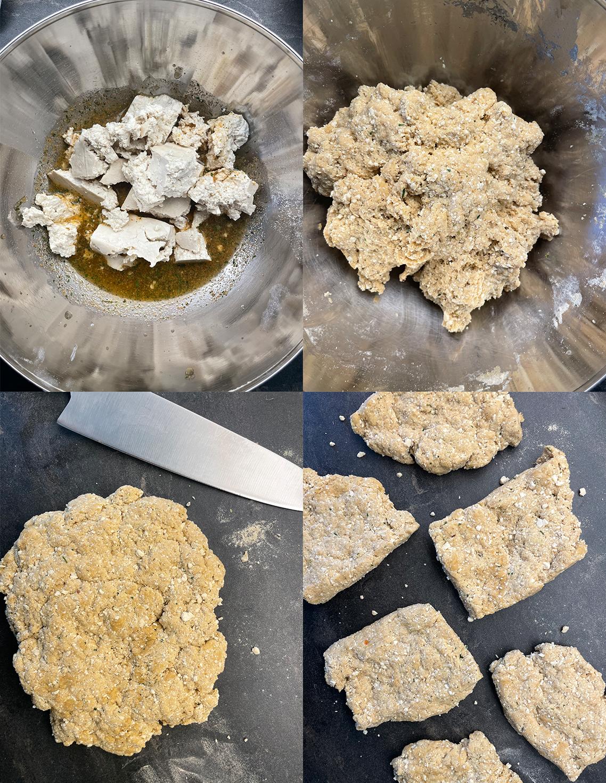 vegansk kyckling på seitan och tofu