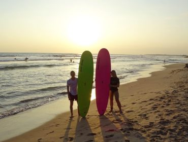Surfing in sunset