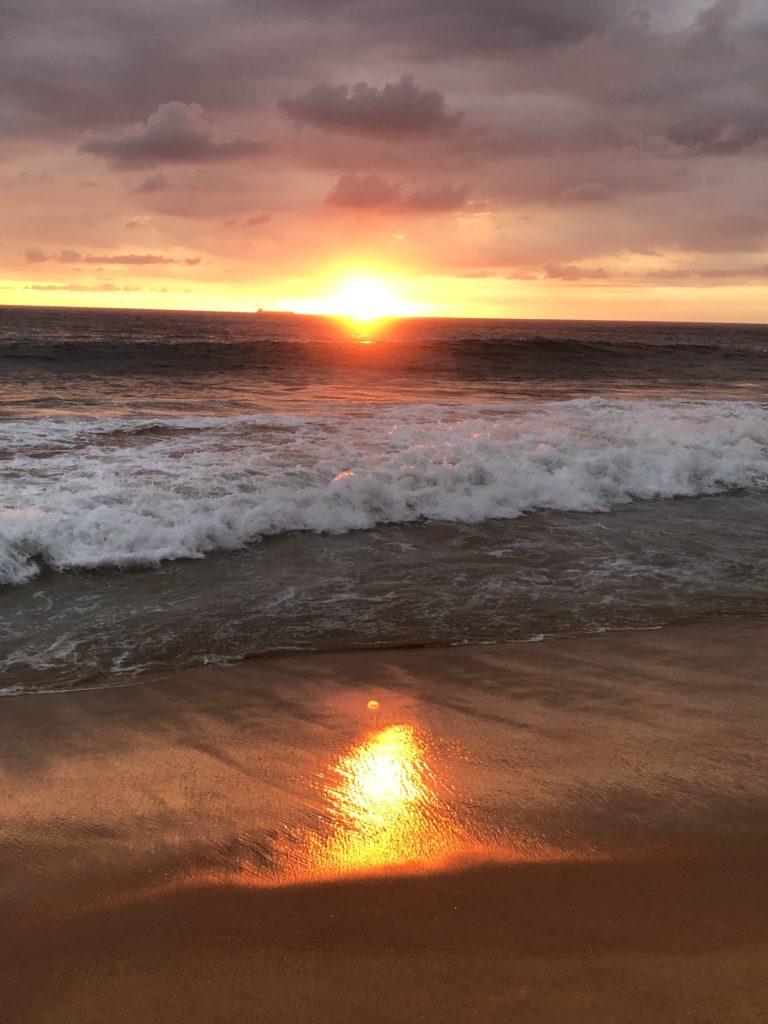 Löpning med solnedgång