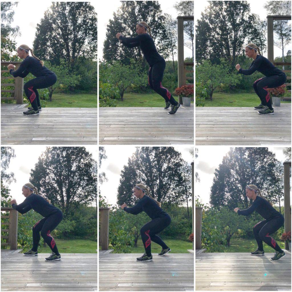 Squathopp framåt och snabba squatsteg bakåt