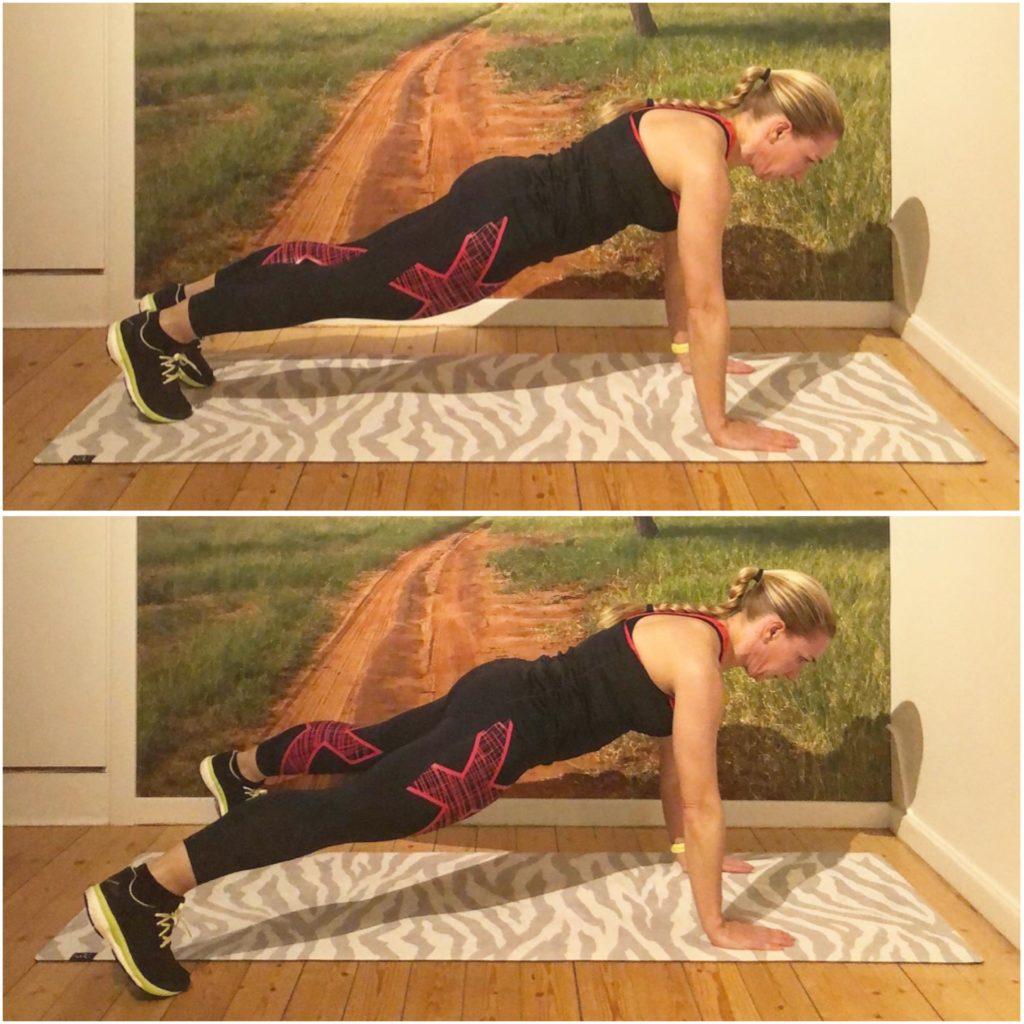 Planka med jumping jacks