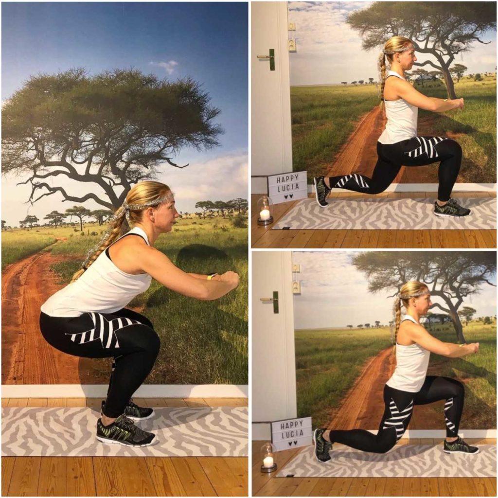 squats med utfall bakåt