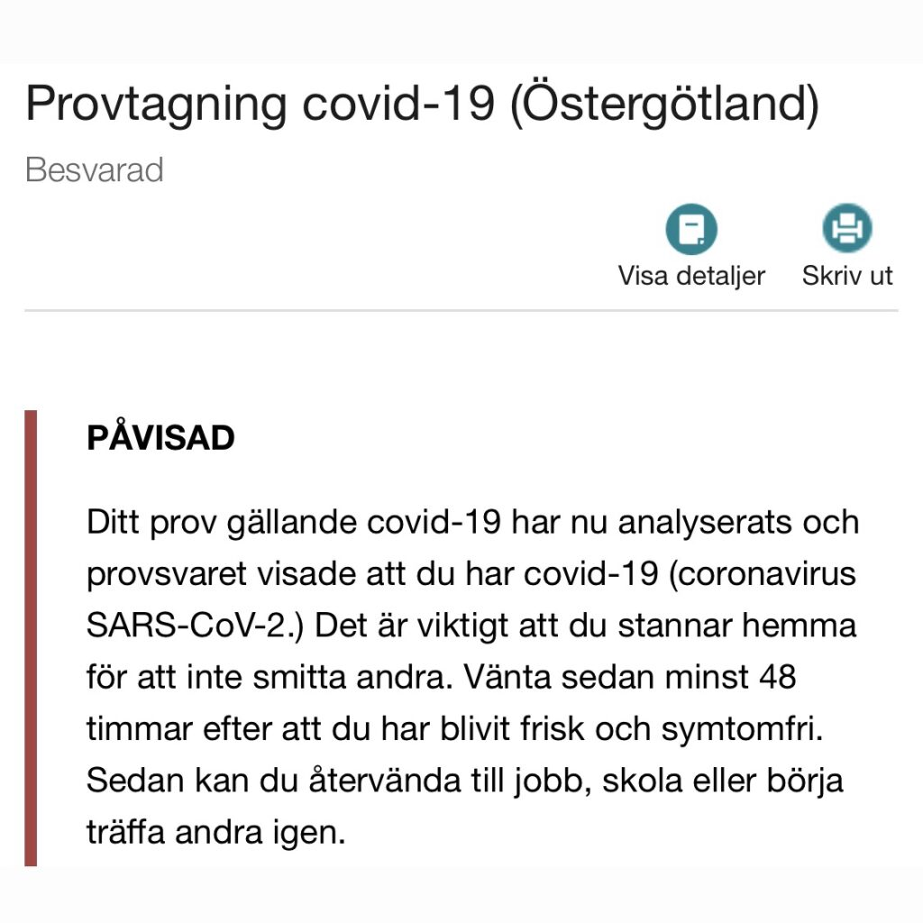 provsvar Covid-19