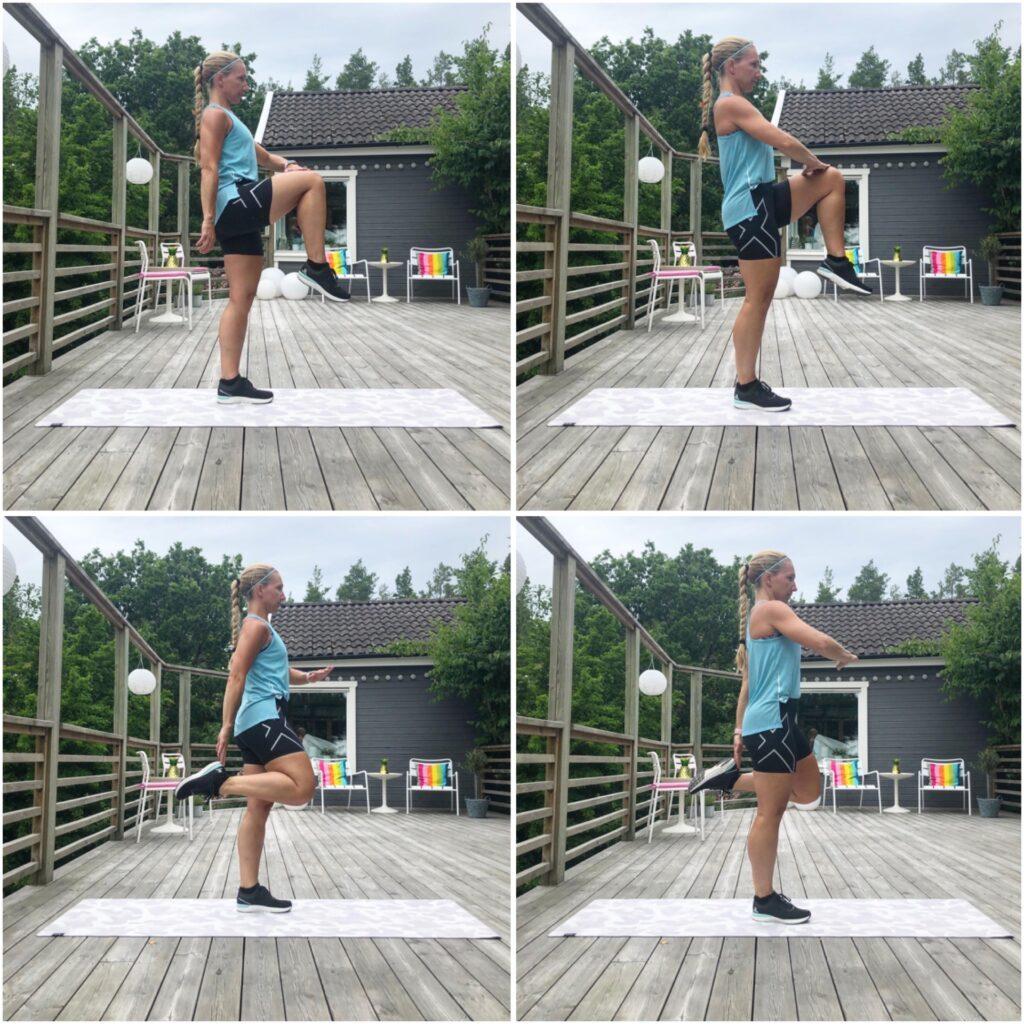 Höga knän till rumpkick