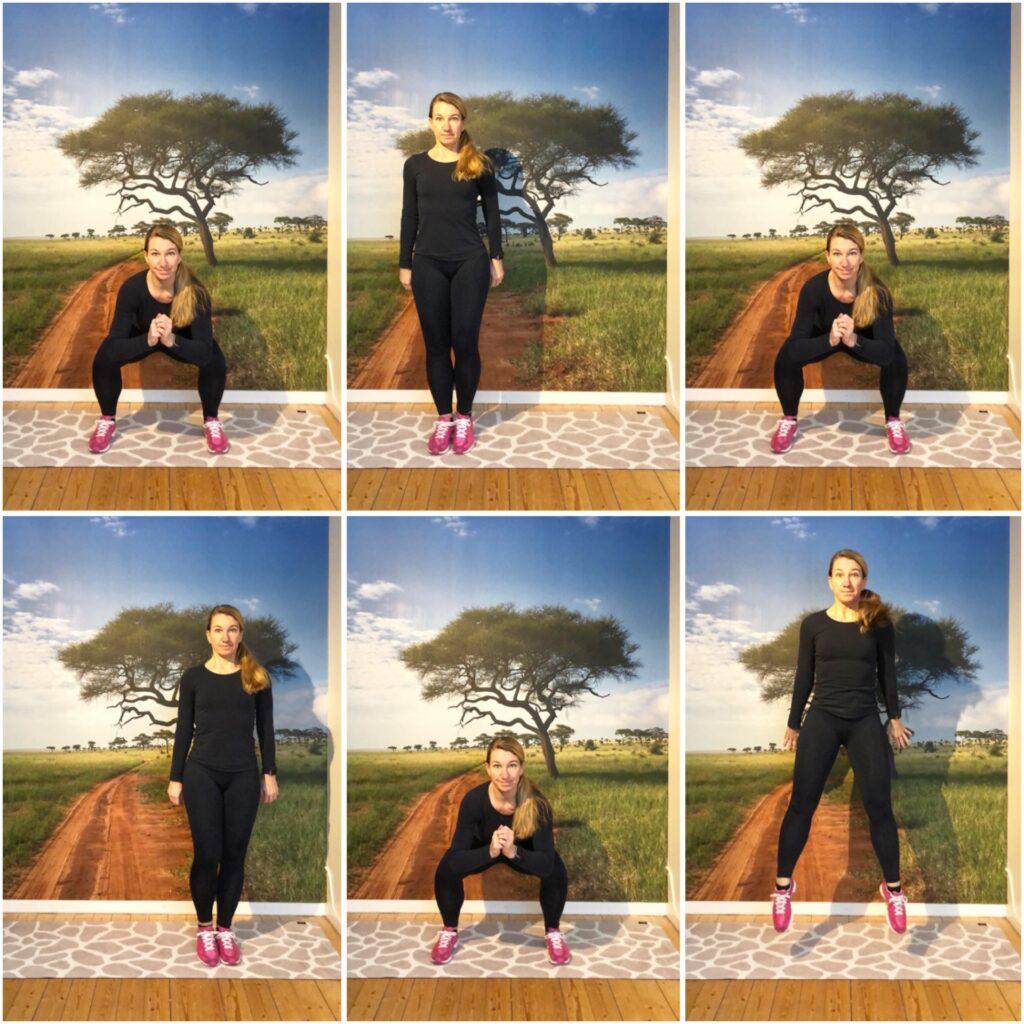 squat - sida ,sida, hopp