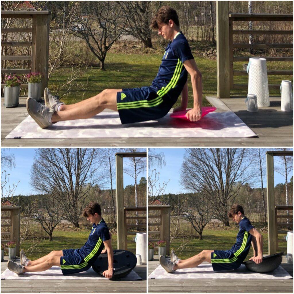 Tricepsvickningar på balansplatta
