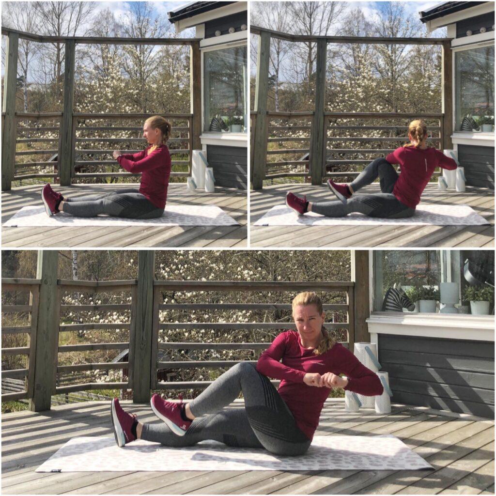 Sittande rotation med knälyft