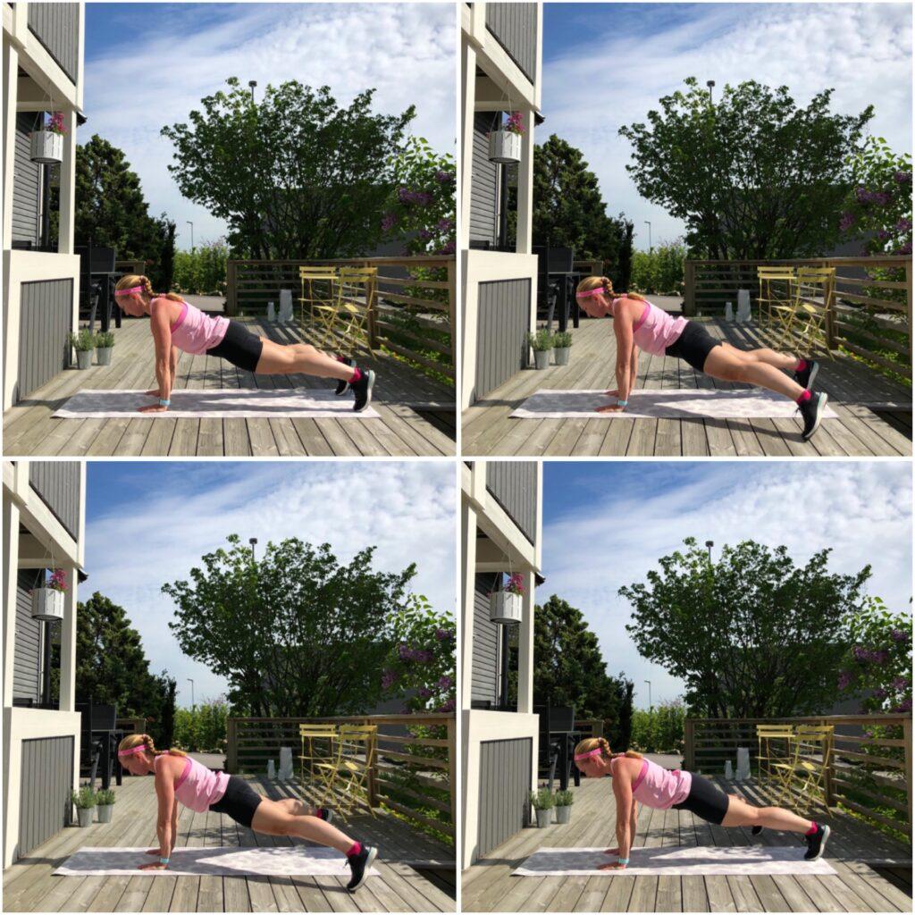 Planka med vandrande ben