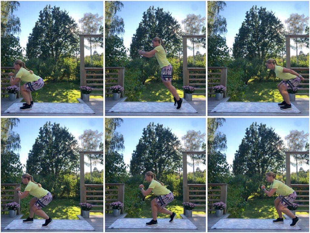 squathopp framåt med snabba squatsteg bakåt