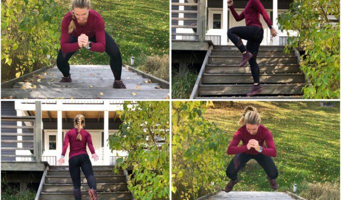 Träna ben och rumpa i en trappa